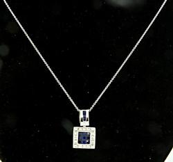 Diamond & Sapphire Square Pendant Necklace, 18K