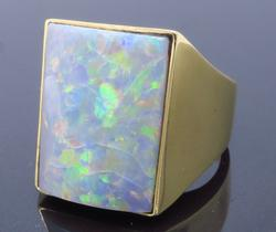 Stunning 14K Yellow Gold Black Opal Ring
