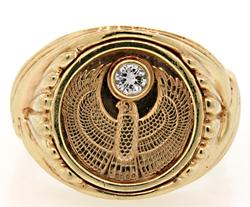 Gents Egyptian Falcon Ring with Diamond