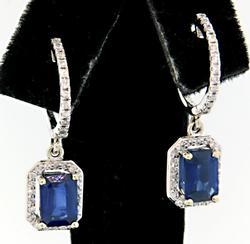Sapphire & Diamond Dangle Earrings at 3.30 CTW