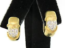 Petite Huggie Earrings w/Pave Diamond Hearts in 18K