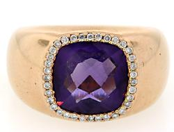 Amethyst & Diamond Ring in Rose Gold