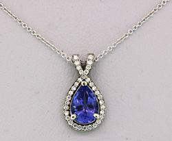 Diamond and Pear Tanzanite Pendant Necklace