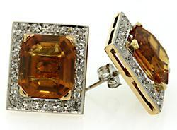 Citrine & Diamond Earrings in 18K