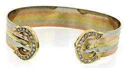 Tri Color Gold Cuff with Diamonds in 18K