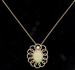 Colorful Opal & Diamond Pendant Necklace