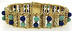Stunning Lapis & Turquoise Bead Bracelet in 18K