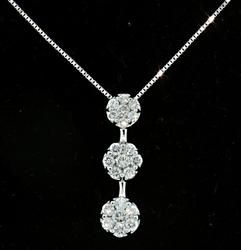 Past-Present-Future Diamond Cluster Pendant Necklace