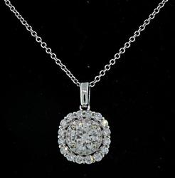 Double 1.23 CTW Diamond Halo Pendant Necklace, 14K