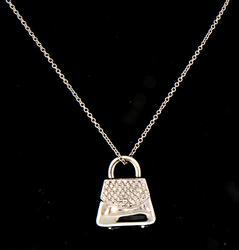 Pave Diamond Purse Pendant Necklace