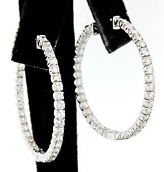 2.50 CTW Diamond In & Out Hoop Earrings