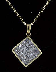 Invisibly Set Princess Diamond Pendant Necklace