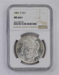MS66+ 1881-S Morgan Silver Dollar - NGC Graded