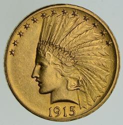 1915 $10.00 Indian Head Gold Eagle - Circulated