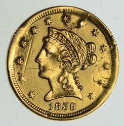1859 $2.50 Liberty Head Gold Quarter Eagle - Circulated