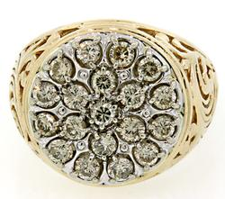Gents Diamond Cluster Top Ring in 10K