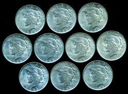 Half BU Roll of ten (10) 1923 Peace Silver Dollars