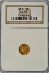 Near Mint 1853 US Type One $1 Gold Piece. NGC AU58