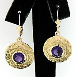 Amethyst Disk Dangle Earrings
