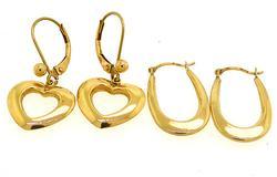 Set of Gold Earrings, 14K