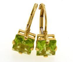 Emerald Cut Peridot Earrings, 14K