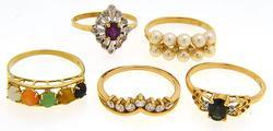 Excellent Vintage Lot of Rings, 14K