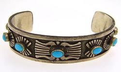 Native American Sterling Silver Bangle With Turquoise