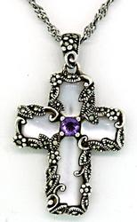 Sterling Silver Mop Marcasite and Amethyst Necklace