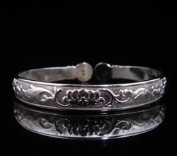 Lotus and Flower Engraved Tribe Style Bangle