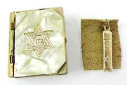 Vintage Small Torah Box with Mezuzah Charm