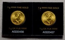 Pair of Four Nines Gold 2016 50 Cents Canada Uncirculated