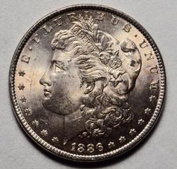BU 1886 Frosty White BU Morgan Dollar