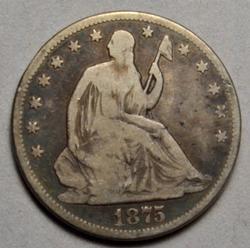 1875 Carson City  Raw Seated Half