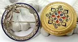 Stunning Pair of 14K Antique Brooches