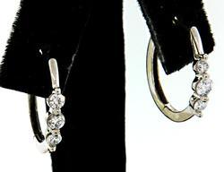 Six Diamond Hoop Earrings