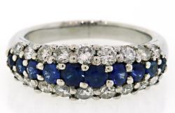 2.0 CTW Multi Diamond & Sapphire Platinum Ring