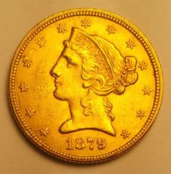 1879 US Gold $5.00 Liberty Almost Uncirculated
