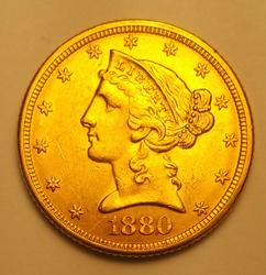1880 US Gold $5.00 Liberty Almost Uncirculated