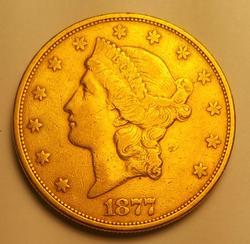 1877-S US Gold $20.00 Liberty Circulated