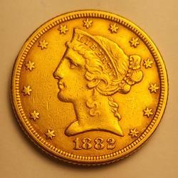 1882 US Gold $5.00 Liberty Circulated