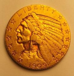 1909-D US Gold $5.00 Indian Circulated