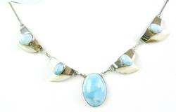 Vintage Sterling Larimar & Bone Necklace