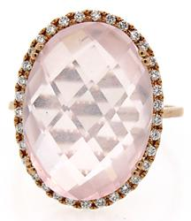 Pink Quartz & Diamond Rose Gold Ring in 18K