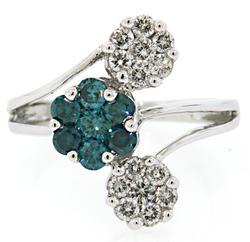 Charming Floral design White & Blue Diamond Ring