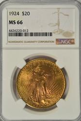 Awesome NGC MS66 graded 1924 St. Gaudens $20 Gold Piece