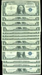 2 Sequential Gem CU runs of 1957 $1 Silver Certificates