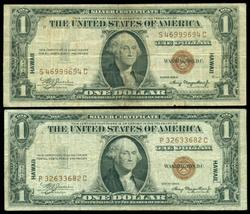 2 Series of 1935-A Hawaii $1 Silver Certificates