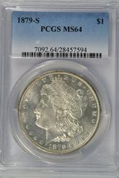 Great semi-Prooflike 1879-S Morgan Dollar. PCGS MS64