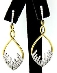 1.33 CTW Two Tone Diamond Fancy Dangle Earrings in 18K