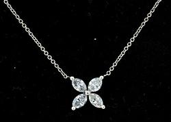 Diamond Marquise Clover Necklace